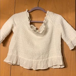 AMERICAN EAGLE white off the shoulder top